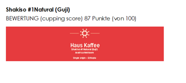 Haus Kaffee, Shakiso #1Natural Guji (Single origin)